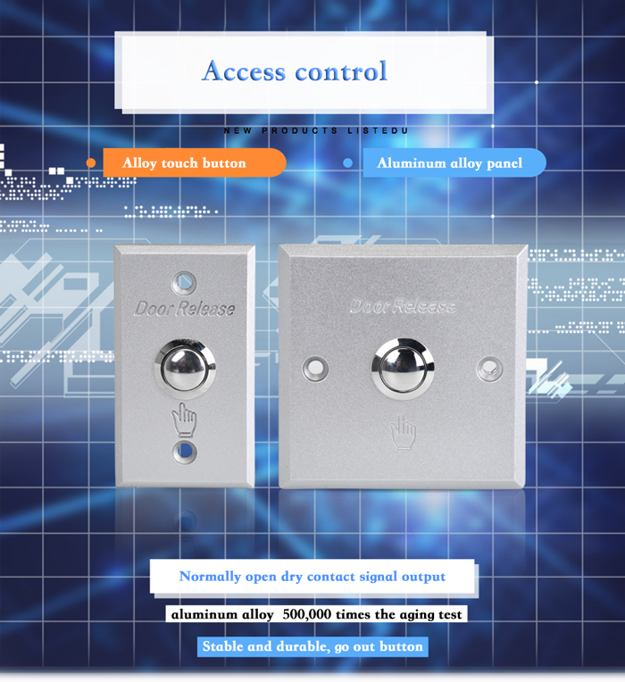 Durable Aluminum Alloy Door Access Switch,Door Exit Push Button For ...