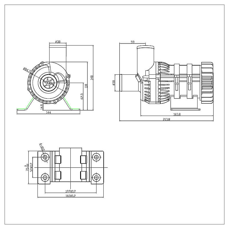 Automotive Electric Water Pump for Electric vehicles On-board Charger, DC-DC Converter, Battery cooling system