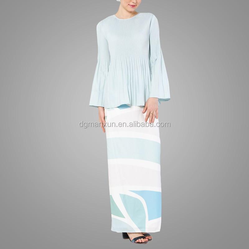New fashion style muslim baju kurung printing islamic clothing flare sleeves top in malaysia1.jpg
