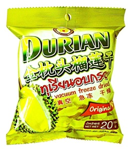 Séchés freeze durian monthong 20 g. collation de fruits