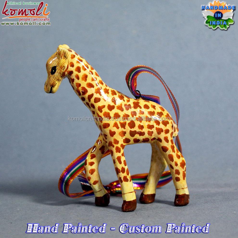 Papel machê feito à mão animal girafa atacado decorações <span class=keywords><strong>de</strong></span> <span class=keywords><strong>Natal</strong></span> enfeites <span class=keywords><strong>de</strong></span> artesanato India
